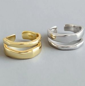 NEW SILVER / GOLD PLATED DOUBLE WAVE RING